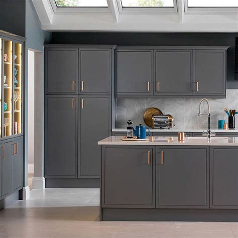 newbury grey magnet kitchen copper handles kitchen