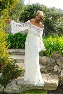 off shoulder boho maxi lace dress bohemian chic With boho hippie wedding dress