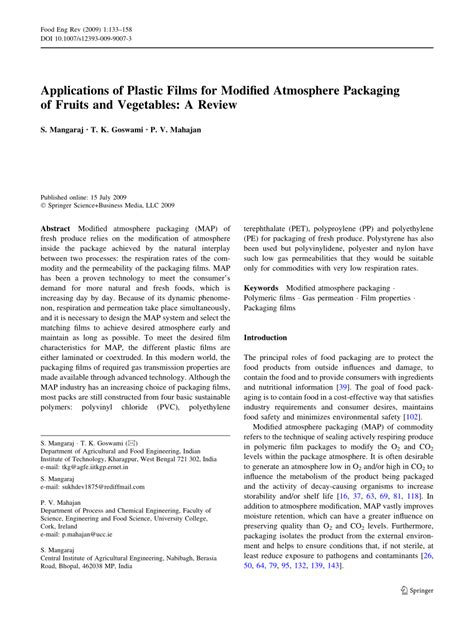 Modified Atmosphere Packaging Vegetables Pdf by Pdf Applications Of Plastic For Modified