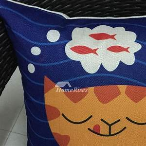Cute kids orange and blue cartoon animal linen cheap throw for Cheap kids pillows