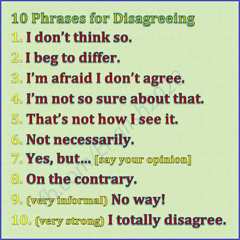 phrases  disagreeing materials  learning english