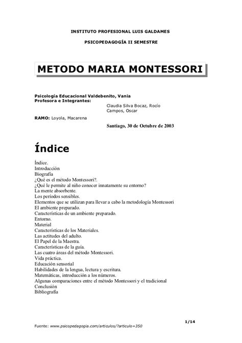How To Make Resume For Montessori by Metodo Montessori Resumen