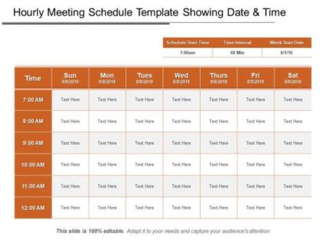 hourly meeting schedule template showing date  time