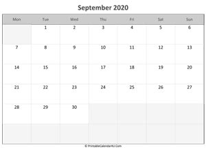 september editable calendar holidays