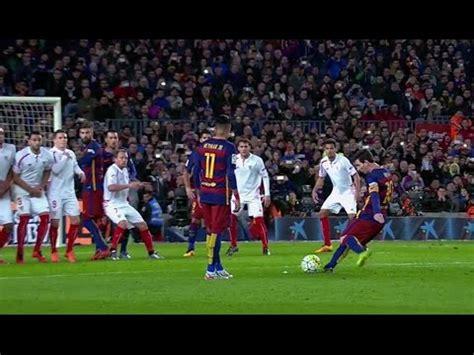 lionel messi top corner  kick goal  sevilla