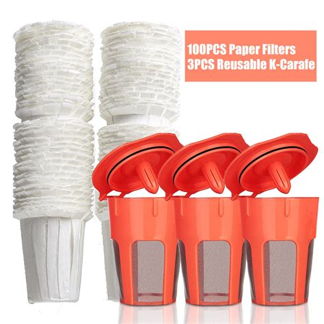 100 Disposable Paper Filters 3 Reusable K Carafe Filters for Keurig 2.0 Cafeteira Refillable ...