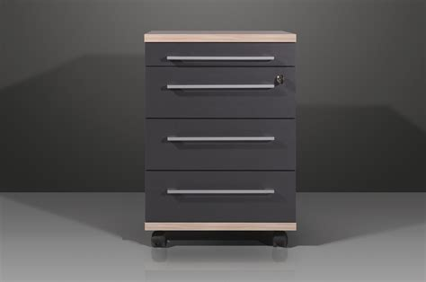 caisson de bureau contemporain 4 tiroirs coloris anthracite garland soldes bureau promos