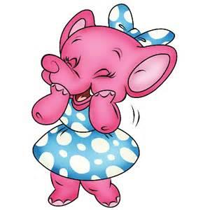 Pink Baby Elephant Cartoon Clip Art