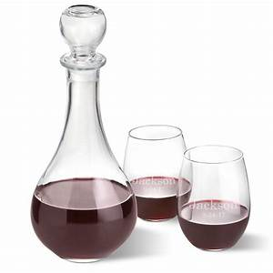 Personalized, Wine, Decanter, With, Stopper, And, 2, Stemless, Wine, Glass, Set, U2013, Groomsmen, Gifts