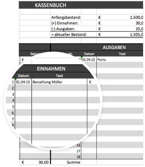 kassenbuchvorlage fuer excel mit anleitung kostenloser