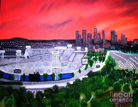 dodger stadium los angeles skyline painting  israel