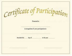 Certificate Of Participation Template Free Blank Certificate Of Completion Template Helloalive