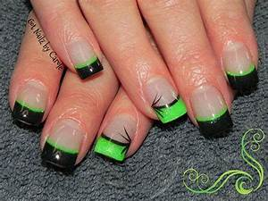 Lime Green And Black Nails