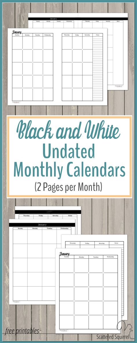 undated black  white calendars featuring  pages