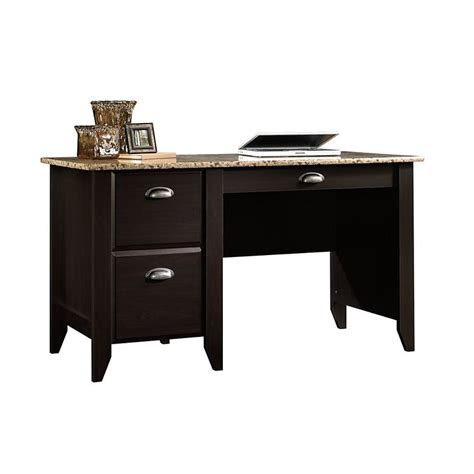 desks at office depot sauder 174 samber desk granite jamocha wood item 549902