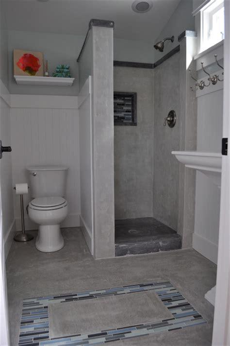 craftsman concrete shower traditional bathroom san