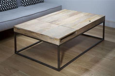 table basse bois et metal table basse m 233 tal noir et bois de manguier z 233 ro guibox