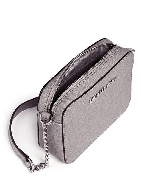 michael kors jet set travel saffiano leather crossbody bag  grey grey lyst