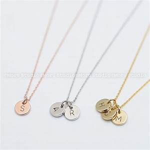 custom initial disc necklace hand stamped letter necklace With name necklace individual letters