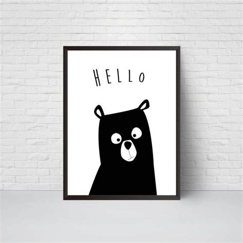 Prints Schwarz Weiß by Nursery Print Hello Black And White Modern