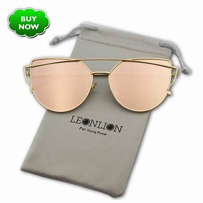 Sunglasses Metal Cat Eye Reflective Leonlion Glasses