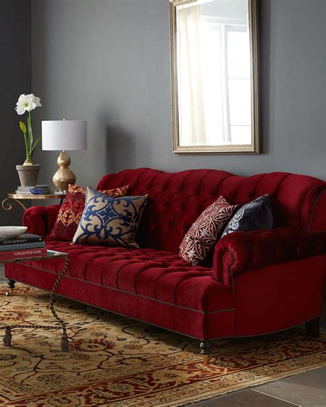 haute house  smith cranberry tufted sofa  red