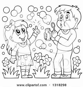 Blowing Bubbles Sheet Coloring Pages