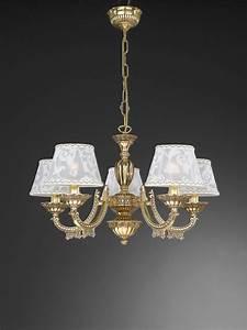 Kronleuchter Mit Lampenschirm : kronleuchter aus goldenen messing mit lampenschirm 5 flammig reccagni store ~ Markanthonyermac.com Haus und Dekorationen