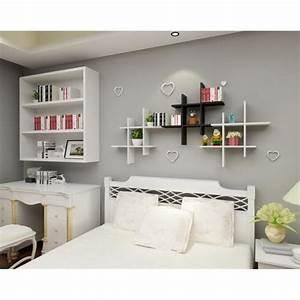 Meuble Mural Chambre : homdox tag re murale pr maison meuble petit en bois rangement mural 4 d finit blanc achat ~ Melissatoandfro.com Idées de Décoration