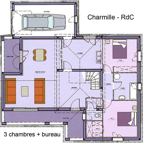 plan maison 3 chambres 1 bureau plan de maison a etage avec garage avie home