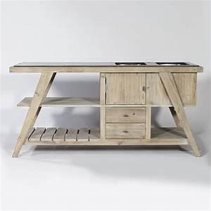 meuble de cuisine en vieux bois parkano bois blanchi With meuble de cuisine bois