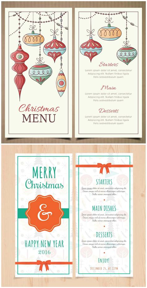 retro christmas   year menu template  year menu