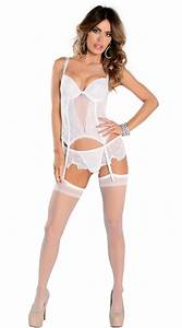 I Do Bustier Set  White Lace And Mesh Bustier With
