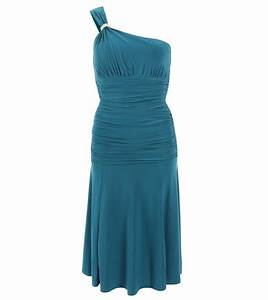 just blue - teal crystal diamante one shoulder cocktail dress