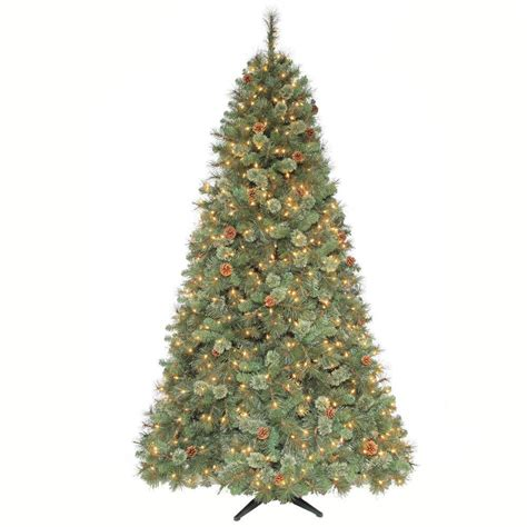 martha stewart living 7 5 ft alexander pine quick set artificial christmas tree with pinecones