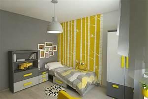 deco chambre garcon gris et jaune With affiche chambre bébé avec pot de fleur lumineux exterieur