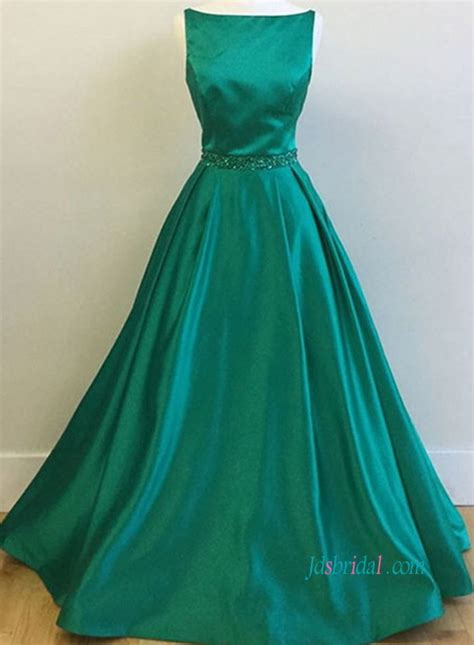 Boat Ball by Pd18011 Green Boat Neck Satin Ball Gown Prom Dress