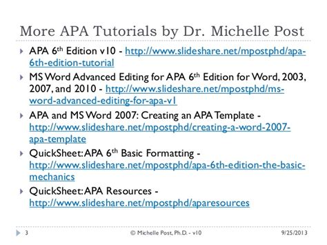 Quicksheet Apa 6th Ed The Basic Mechanics Apa 6th Ed Tutorial V10