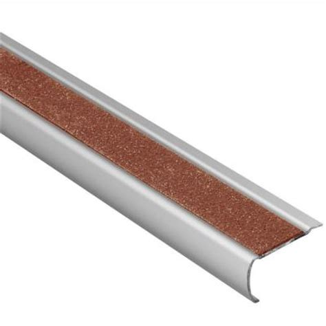 Stair Nosing For Tile Home Depot by Schluter Trep Gk S Brushed Stainless Steel Nut Brown 1 16