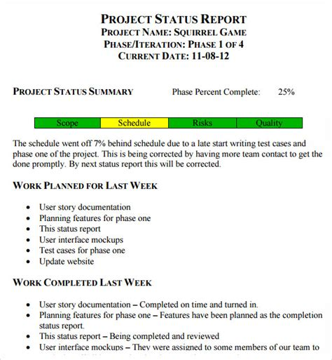 14 Sample Useful Project Status Report Templates  Sample. Game Schedule Template. Quarterly Employee Review Template. Template For Job Description. College Scholarship Resume Template