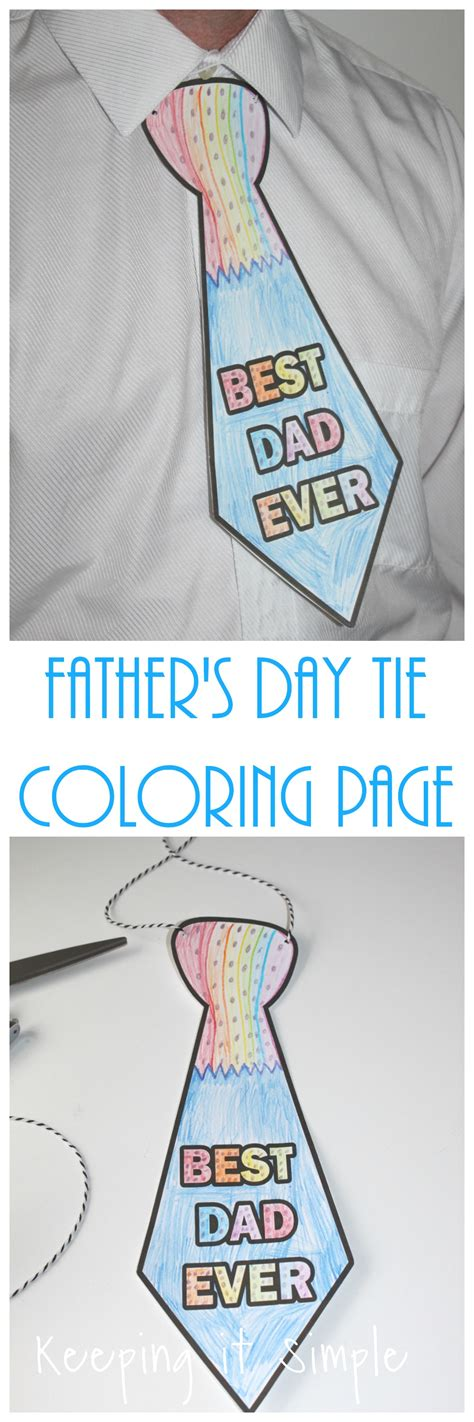 fathers day tie coloring page printable keeping  simple
