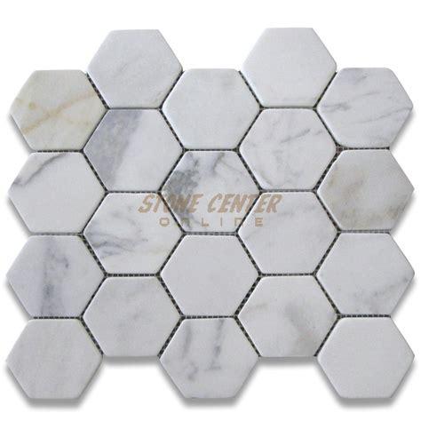 calacatta gold 3 inch hexagon mosaic tile tumbled marble