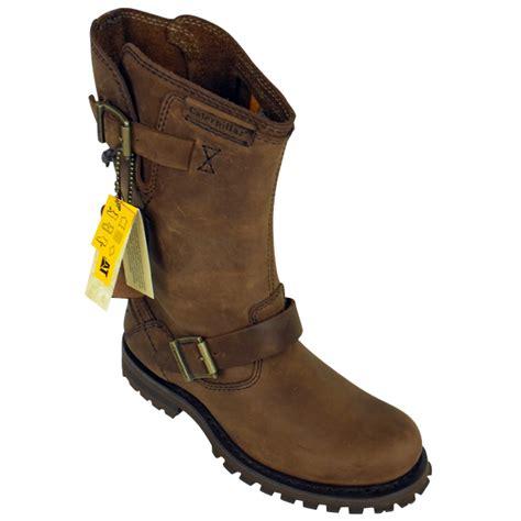 mens brown biker boots mens caterpillar cat hogan leather 9 quot inch biker boot