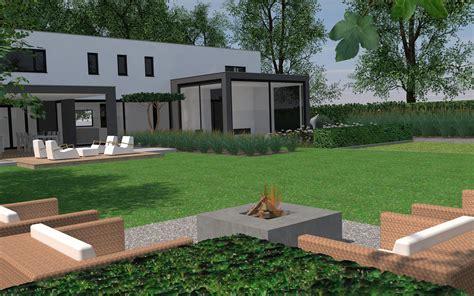 tuin met vijver vlonder en overkapping tuinontwerp stoop tuinen
