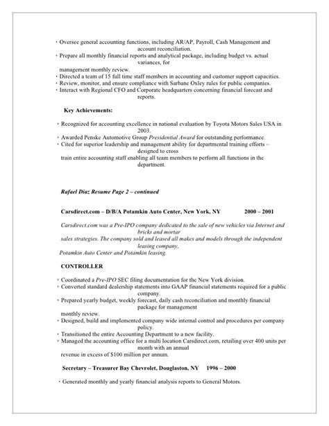 Auto Dealership Sales Manager Resume by Rafael Diaz Resume