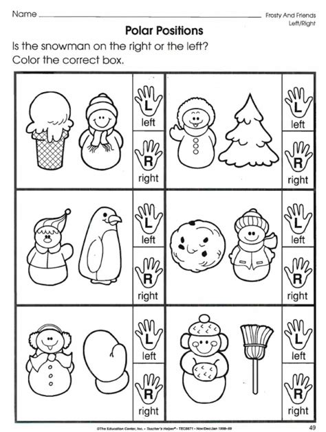 kindergarten math worksheets left and right