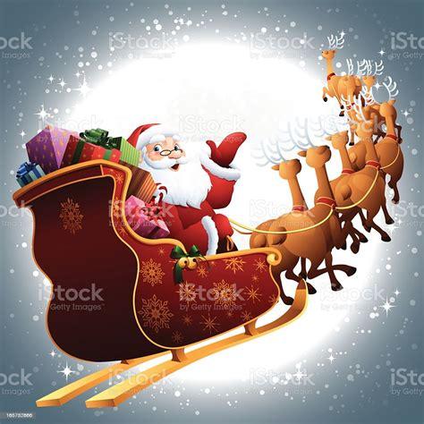 santa   sleigh flying  full moon sky stock