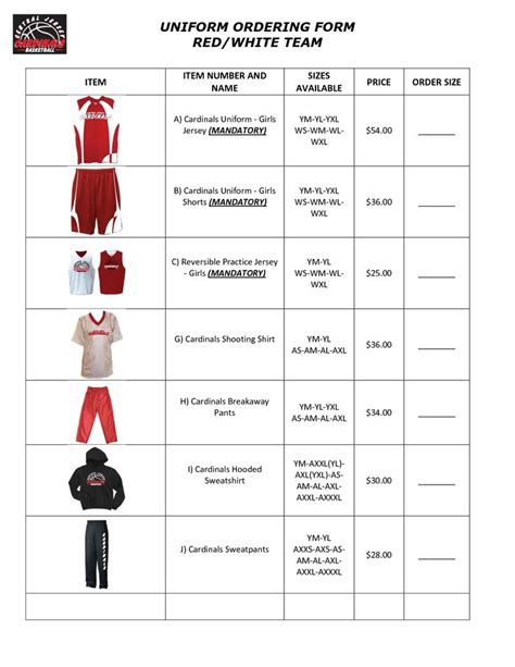 team uniform order form template keepbown order form