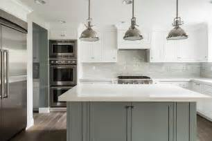 stainless steel topped kitchen islands white kitchen with grey island transitional bathroom
