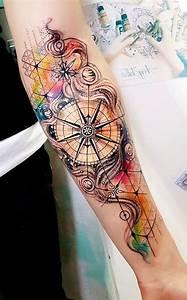 Idée De Tatouage Femme : best 25 watercolor compass tattoo ideas on pinterest ~ Melissatoandfro.com Idées de Décoration